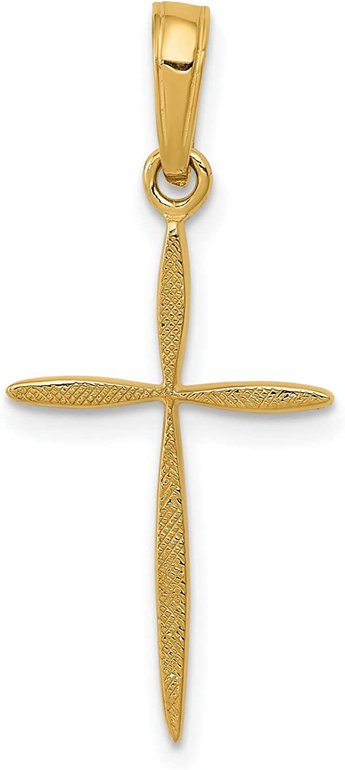14k Yellow Gold Polished And Passion Tapered Textured Special San Antonio Mall Campaign Pend Cross