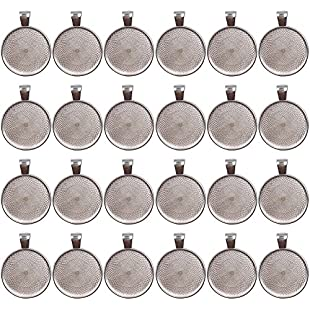 Ucatcher 24 PCS Bezel Pendant Trays Round Cabochon Settings Trays Pendant Blanks, 25mm Diameter, Silver:Animalnews