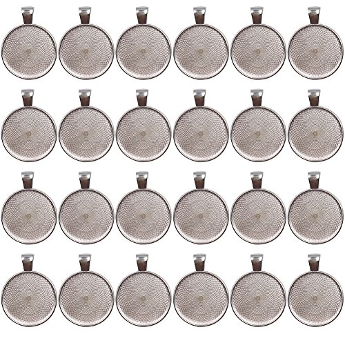 Dcatcher 24 PCS Bezel Pendant Trays Round Cabochon Settings Trays Pendant Blanks, 25mm Diameter, Silver