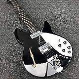 MLKJSYBA Guitarra 6 Cuerdas Eléctricas De Guitarra con Guitarra Eléctrica del Cuerpo del Orificio F, Cuerpo De Pintura Negra, con Diapasón Adornado Guitarras acústicas