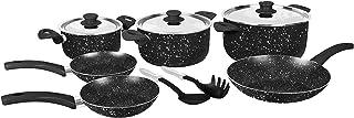 Grandi Cook Pop set 11 pcs Stewpot 16-20-26+ Fry Pan 20-22-26 + 2 Kitchen Tools Free (Black Granite)