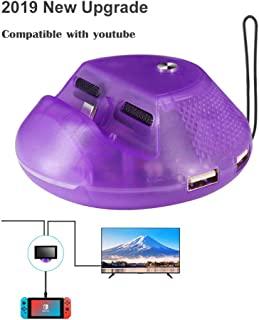 J&TOP Switch TV Dock,Type C to HDMI Adapter Dock for Nintendo Switch, Portable Switch Charging Stand with Extra USB 3.0 Port,Replacement Dock With Electronic Chip for Nintendo Switch,Purple