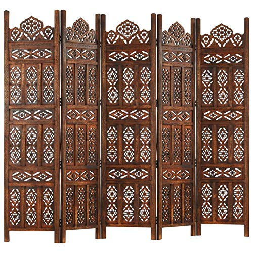 pedkit Hand carved 5-Panel Room Divider, Folding Privacy Screen Patio Divider Wall Partition Separator Brown 200x165 cm Solid Mango Wood