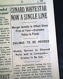 WHITE STAR & CUNARD Lines British Shipping Ocean Liners MERGER 1934 Newspaper THE NEW YORK TIMES, January 18, 1934