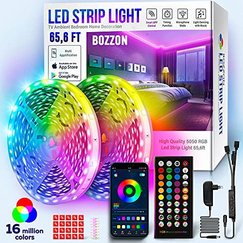 Led Strip Lights for Bedroom RGB 65.6ft Long Smart LED Bluetооth Music Sync Color Changing Led Strip Lights w/ Remote Control Led Tape Light Wall TV Decor Living Room Led Lights Wireless Flexible