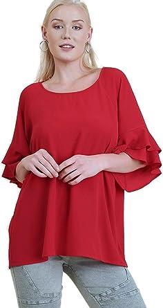 UMGEE Strawberry Red Layered Ruffle Sleeve Knit Tunic Dress Plus Size XL