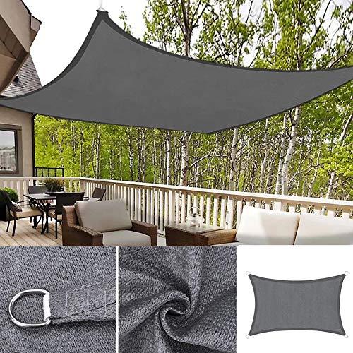 DAMAI Toldo para Jardín Vela De Sombra Rectangular Impermeable Protección Rayos UV Resistente para Patio Terraza,Gris,3x5m