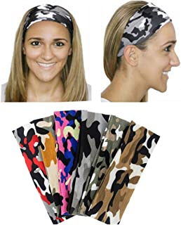 Yeshan 6 pack Moisture Wicking Elastic Headband,Hairband,Stretch Head wrap for Running Workout Yoga and Fitness,Camouflage design