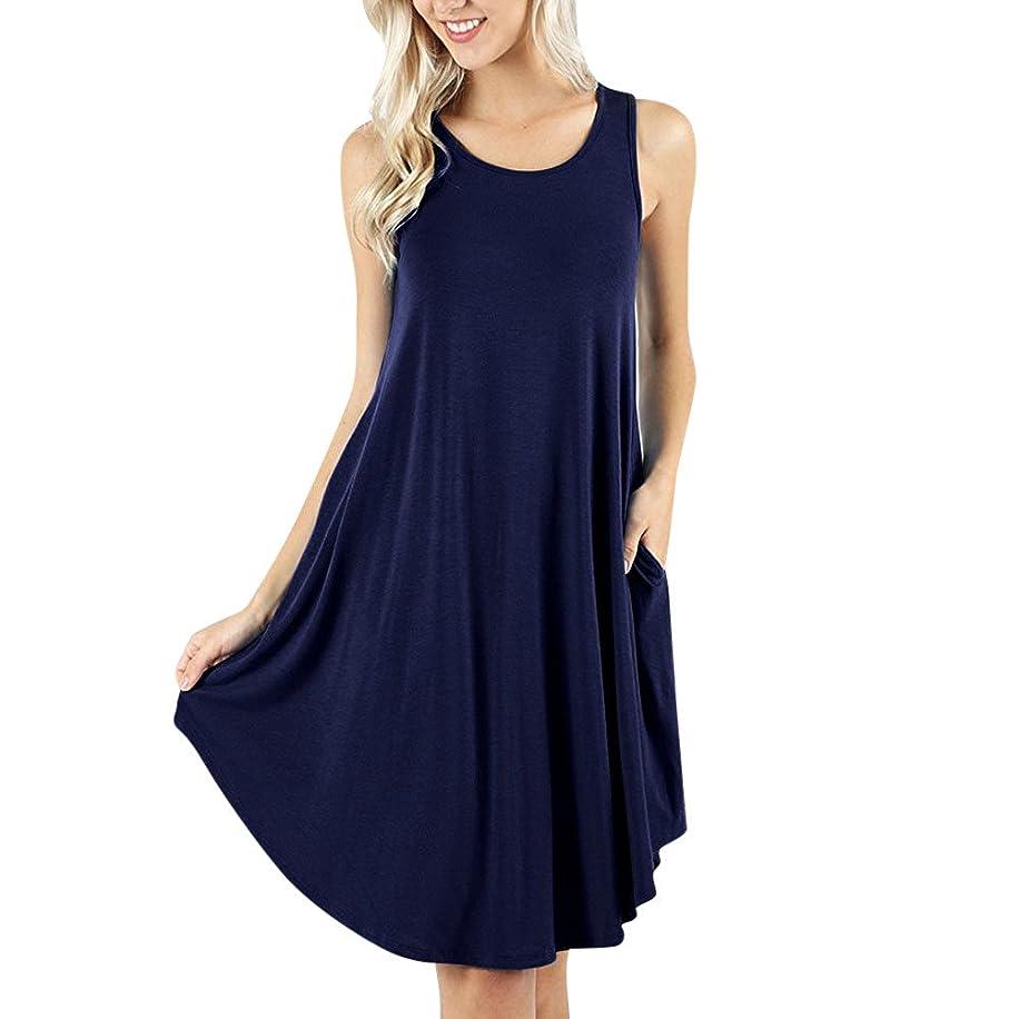 Summer Dress for Women Sleeveless Pocket Dress Loose Casual Swing T-Shirt Dresses Plus Size Multi-Color Optional