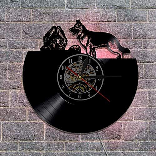 YDHNB 3D Retro Clock Bulldog Inglés Raza de Perro británico Reloj de Pared con Registro de Vinilo Pet Puppy Pug Dog Reloj de Pared, Regalo para Amantes de los Perros,with Light