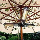 HAPPY-BELT Calentador eléctrico del paraguas del patio, calentador infrarrojo eléctrico plegable al aire libre con 3 paneles de calefacción Potencia ajustable 650/1300/1950W