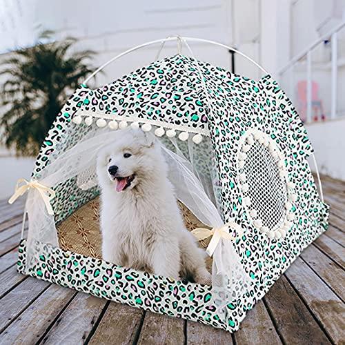 Gidenfly Cama de tienda para mascotas, cama de perro tipi con dosel, suministros para perros, tiendas plegables lavables, carpa plegable portátil con cojín para perro