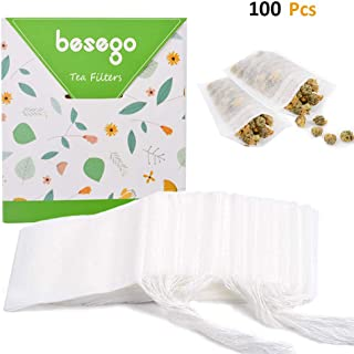 Besego Disposable Drawstring White Tea Filter Bags, Empty Natural Material Tea Infuser Bag for Herb & Tea Loose Leaf Pack of 100 for Christmas