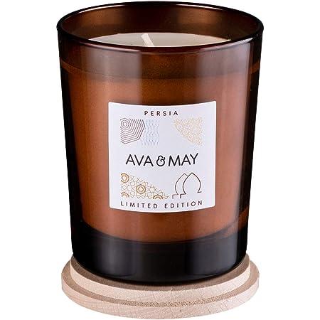 AVA & MAY Persia Candela profumata (180g) – Portacandele in Vetro con Dolce Profumo di fico, Gelsomino e Neroli – Candele Fatte a Mano con Un Tocco Orientale