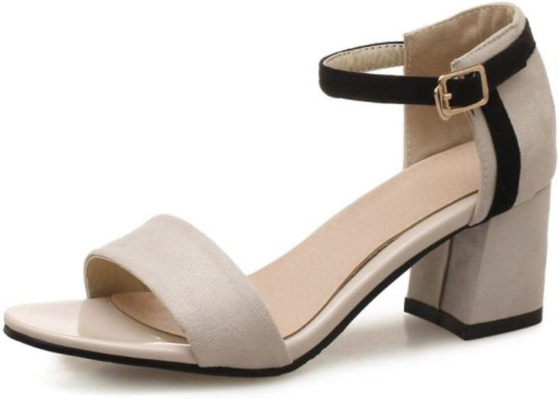 Houfeoans Size 32-46 Women Sandals Buckle Open Toe Thick Heel Mixed color Summer shoes Ornate Footwear