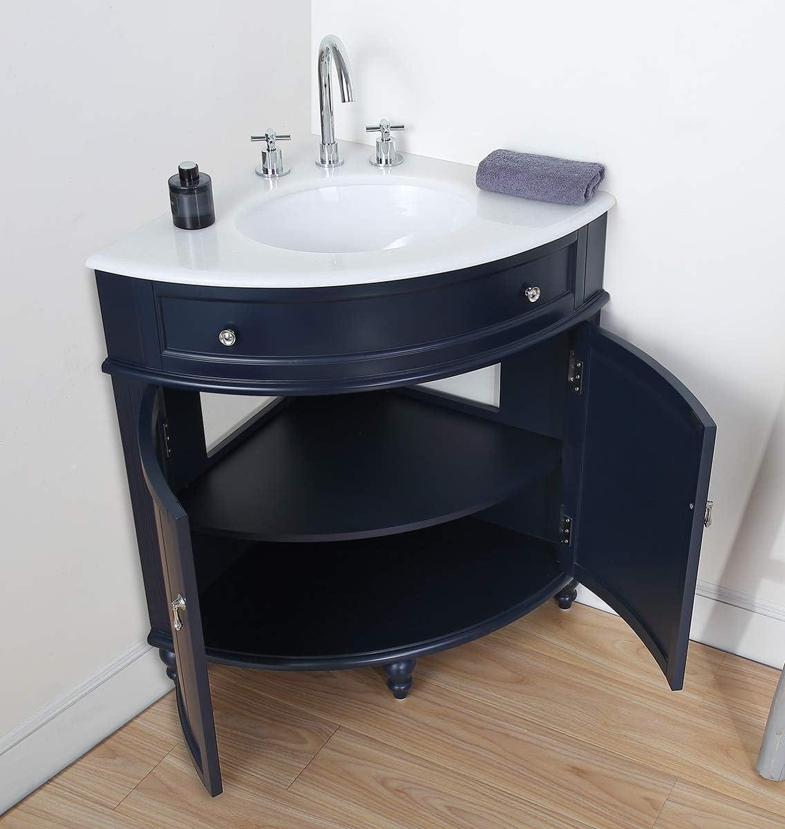 Buy 24 Thomasville Navy Blue Modern Slim Corner Bathroom Sink Vanity Zk 47588nb Online In Turkey B08n5rr492