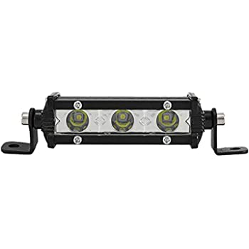 SKYWORLD Barre de lumi/ère LED /à une rang/ée 4 pouces 10cm 15W profil bas ultra mince mince Mini projecteur sur le pare-chocs de pare-chocs de grille avant pour camion RV