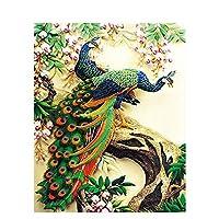 油絵 数字キットによる絵画花と孔雀デジタル絵画油絵 数字キットによる絵画手塗り DIY絵 デジタル油絵塗り絵 40x50cm (フレームレス)