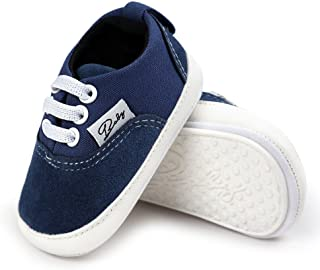 Best Antheron Baby Girls Boys Canvas Shoes Soft Sole Toddler First Walker Infant High-Top Ankle Sneakers Newborn Crib Shoes Review