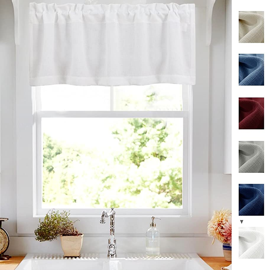 White Valance Semi Sheer Short Curtains Kitchen Casual Weave Cafe Curtains Half Window Treatments 1 Panel 18