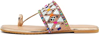 Girl's & Women's Slip on Embroidered Ethnic Flat Sandals (Sultan, numeric_5) UK Size 5