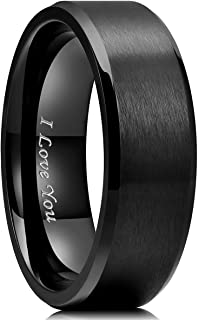 King Will 4mm/5mm/6mm/7mm/8mm Stainless Steel Ring Black/Silver Plated Matte Finish&Polished Beveled Edge with Laser Etche...