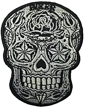 Papapatch Live Love Ride Sugar Candy Skull Head Star Eyes Biker Jacket Embroidered Applique Emblem Badge Costume Sewing Iron on Patch  SKULL-STAR-EYES