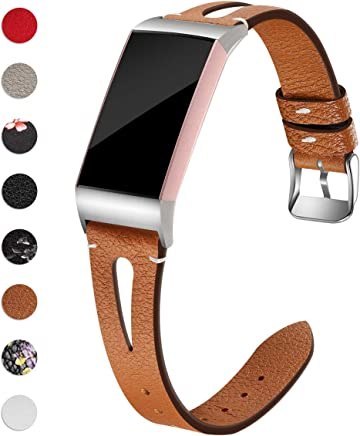 Maledan Bands Compatible for Fitbit Charge 3 and Charge 3 SE Fitness Activity Tracker, Slim Genuine Leather Band Replacement Accessories Strap for Charge3 Special Edition, Women Men