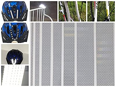 Qbc Craft High Intensity Reflective Sticker Decals 7 Piece Bicycle Safety Kit PPE for Helmets, Bikes, Baby Strollers, Scooters, Cars, Motorcycle, Trucks Trailer Driveway DIY Reflectors