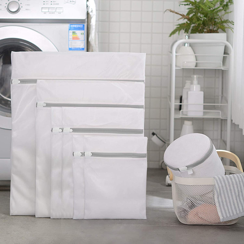 Bessrung 2 Pack Laundry Mesh Bag,Mesh Laundry Bag-Heavy Duty Fine Mesh Wash Bag for Washing Machine-Supper Zipper Net Laundry Bag for Travel,Sweater,Garment 1L+1XL