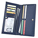 Cynure Women's Long Bifold Credit Card Holder Leather Checkbook Clutch Wallet with Zipper Pocket, 161 Blue