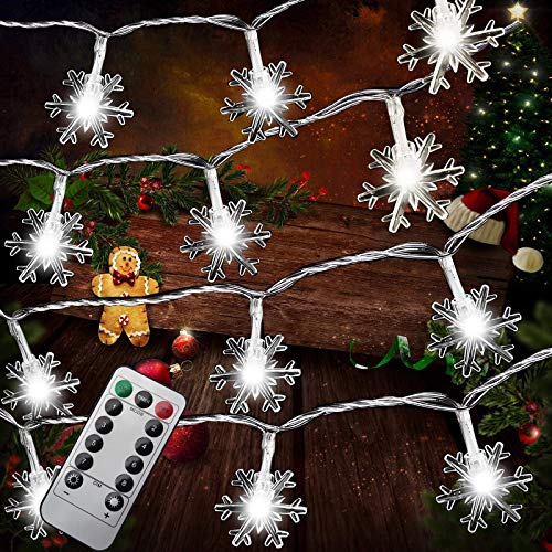 Christmas Snowflake Light String,Christmas Indoor and Outdoor Decoration,Battery Powered,Eight Lighting Modes,Waterproof,Suitable for Holiday Parties