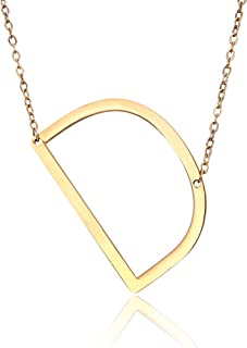 Sideways Large Initial Necklace Gold Big Letter Script Name Stainless Steel Pendant Monogram Necklace for Women Gift(from Alphabet 26 A-Z)