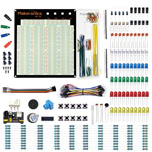 Makeronics Electronics Fun Kit with 3220 Solderless Breadboard| Power Supply Module| Precision Potentiometer |140 pcs U-Shape Jumpers|65 pcs Wires and more for Prototyping Circuit/Arduino/Raspberry Pi