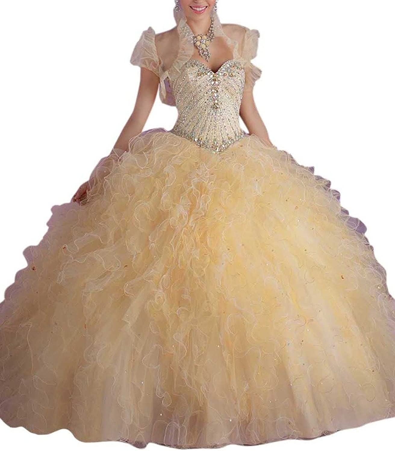 Dearta Women's Ball Gown Sweetheart FloorLength Laceup Tulle Quinceanera Dress