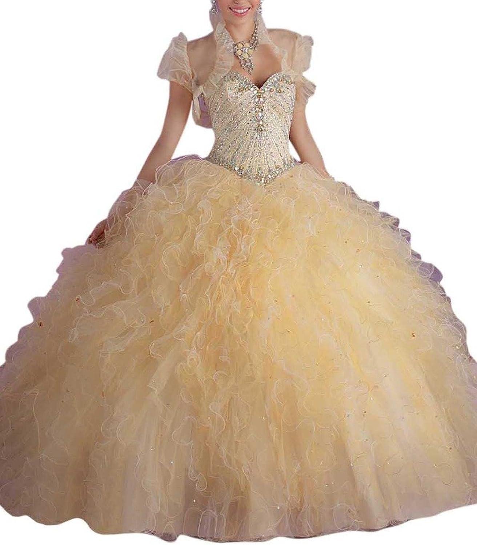 Dearta Women's Ball Gown Sweetheart FloorLength Laceup Tulle Quinceanera Dress
