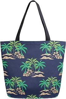 Mnsruu Mnsruu Einkaufstasche aus Segeltuch, wiederverwendbar, Schulter-/Handtasche, Kokosnussbaum, Marineblau, Reisetasche für Damen und Mädchen