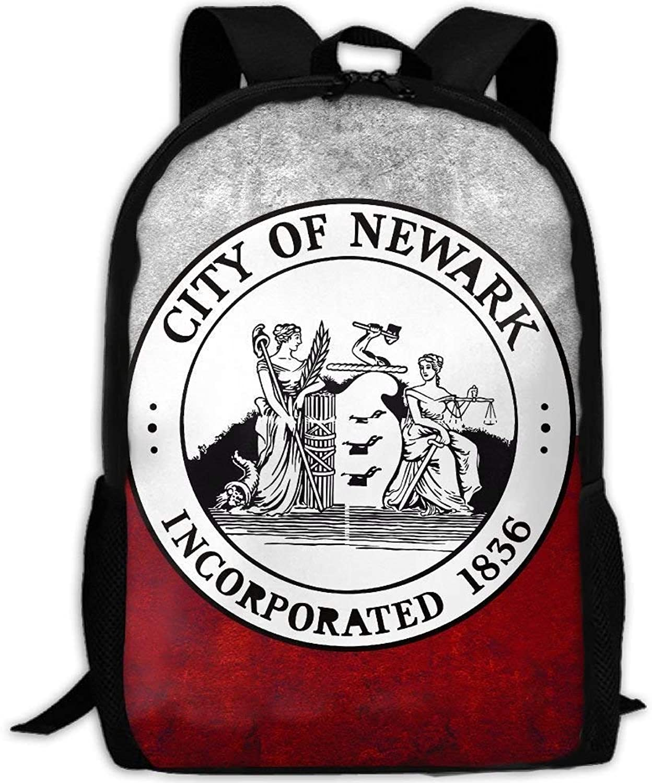 Backpack Adult Seal of Newark NJ Shoulders Bag Daypacks