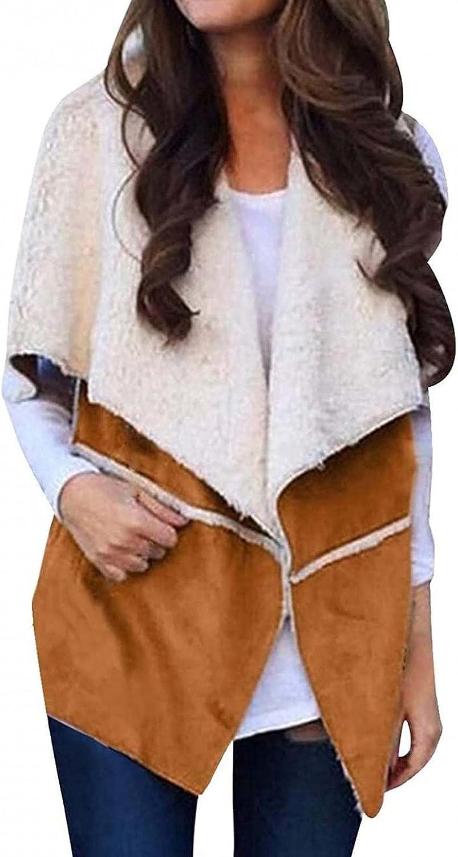 Hooded Vest Sherpa Cardigan for Women Fleece Open Front Cardigan Solid Color Jacket Sleeveless Lapel Loose Vest Coats