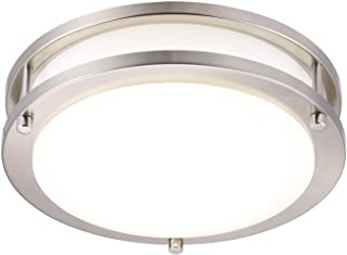 Cloudy Bay LED Flush Mount Ceiling Light,10 inch,17W(120W equivalent) Dimmable 1050lm,5000K Day Light,Brushed Nickel Round...