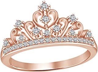 Round Cut White Cubic Zirconia Princess Crown Ring in 14k Gold Over Sterling Silver