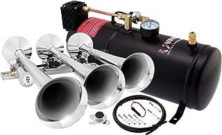 Vixen Horns Train Horn Kit for Trucks/Car/Semi. Complete Onboard System- 150psi Air Compressor, 1 Gallon Tank, 3 Trumpets. Super Loud dB. Fits Vehicles Like Pickup/Jeep/RV/SUV 12v VXO8210/3118