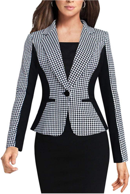 SEBOWEL Women's Casual Work Long Sleeve Slim Fit Office Blazer Suit Jacket
