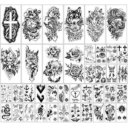 Kaieteur 40 Feuilles de Fleurs et d'animaux Collection Tatouages Temporaires Imperméables Durables Faux Tatouages pour Femmes et Adulte
