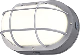 LEONLITE LED Bulkhead Light, 10W(60W Equivalent), Energy Star & ETL Listed, 60 LED Chips, Wet Locations, 3000K Warm White Glow, Silver Finish Outdoor Wall Light, 5 Years Warranty