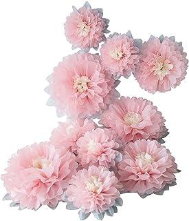 Mybbshower Paper Flower Decorations for Wall Backdrop Girld Nursery Wall Decor Wedding Bridal Shower Rooms Pink Grey Sizes...