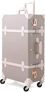 Vintage Carry on Suitcase 20 inch PU Leather Rolling Spinner Trunk Luggage (Light Gray)