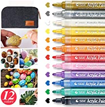 Bouraw Acrylic Paint Pens-12 Colors Acrylic Paint Markers with Pencil case for Rocks Painting, Ceramic, Glass, Wood, Fabric, Porcelain, Canvas, DIY Craft Making Supplies, Photo Album, Card Making