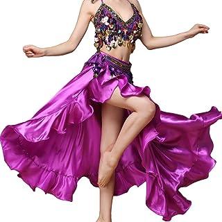 Baisdan Satin Rüschen Swing Röcke Bauchtanz Kostüm Flamenco Seitenschlitz Maxi Full Rock Kleid