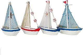 Nautical Wooden Sailboat Decor Vintage Beach Theme Sailing Boat Model Display Sail Boat Bathroom Decor Set of 4